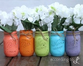 Rustic Vintage Painted Pint-Sized Mason Jar - Raibow Set of Five