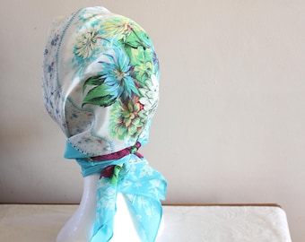 Bright coloured floral acetate scarf. 60s scarf, headsquare