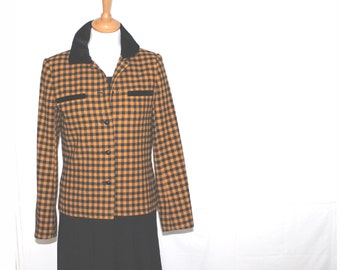 Vintage check jacket. Yellow black check. Smaller size. Windsmoor, Made in England