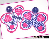 Butterfly Lollipop Personalized Valentine's Day Cards (Navy & Pink)- Printable or Shipped