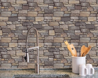 Stone Removable WallSkins.Field Ledge.Peel Stick Self Adhesive Fabric  Wallpaper Repositionable