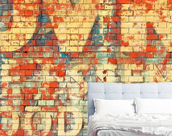 Removable Graffiti Wallpaper- Graffiti - Peel & Stick Self Adhesive Fabric Temporary Wallpaper-Repositionable-Reusable- FAST. EASY.