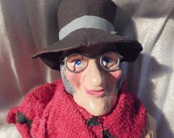 A Christmas Carol, Smiling Ebenezer Scrooge Ornament - creche style