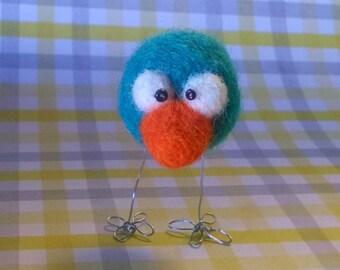 Needle Felted Blue Bird Animal Figurine Soft Sculpt Ooak Doll Miniature Cute Small Easter Egg Gift