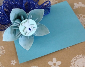 Baby Boy Teddy Bear Paper Flower Gift Tag with Royal Blue Bow