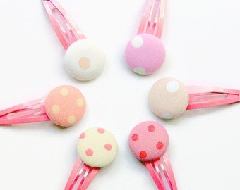 6 Polka Dot Hair Clips - Set of 6 Hair Accessory - Spot Polka Dot Pretty Pink Girls Hair Clip Set Pink and White Fabric Covered Buttons