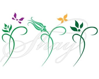 Flowers and Butterflies -  SVG cut file for Silhouette and other cutting machines