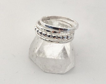 Stacking rings - 4 sterling silver bands