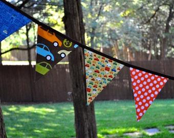 Boys car fabric pennant banner bunting, brown, orange green and aqua, boys room, playroom, birthday party decor, photo prop