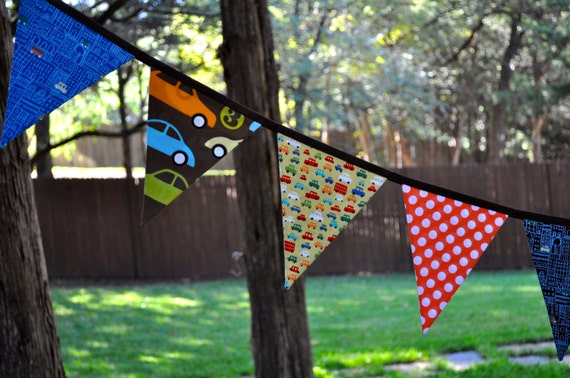 Boys car fabric pennant banner bunting, brown, orange green and aqua, boys room, playroom, birthday party decor, photo prop