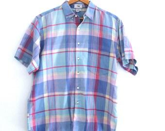 Vintage 90s Mens Gap Shirt Plaid Preppy Blue 100% Cotton Large