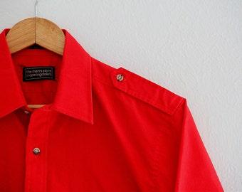 Vintage Mens Bloomingdales Mens Store Shirt Short Sleeve Red Preppy 1980s Medium