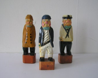 Scandinavian Folk Style Carved Wooden Figurines