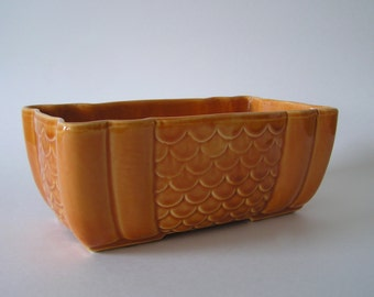 Warm Brown Square USA Pottery Planter with Scalloped Design