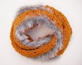 Mustard Endless Scarf Circular Scarf Crochet Accessory Infinity Scarf Cowl Silver Grey Faux Fur Trim