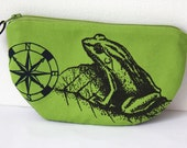 SALE Zipper Pouch-Sunglasses- Frog and compass screen print in black and navy on green twill, chevrons, denim~Ready to ship