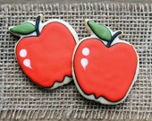 Back to School Gifts / Teachers Gift / Gifts for Teachers / Fall Sugar Cookies / Red Apple Sugar Cookies - 1 dozen