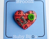 Pink Tape Measure Brooch - Heart Resin All Colours Craft Sewing Jewellery Handmade