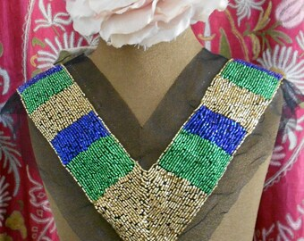 Gold Green and Blue Beaded Appliques