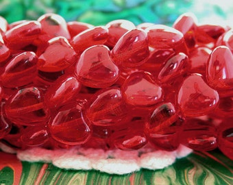 8mm Heart Beads, Siam Heart Beads, Czech Glass Heart Beads, Red Heart Beads CZ-426
