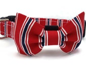 Red Patriotic Stripe Dog Bow Tie and Collar Set  for Small to Large Dogs