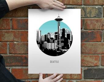 Seattle Washington Circle City Skyline - Housewarming Gift - Seahawks - Seattle Art - Wall Art - Wedding Gift - Print - Space Needle