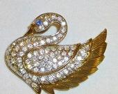 Diamond Rhinestone Swan Park Lane Brooch Vintage Gold tone Jewelry