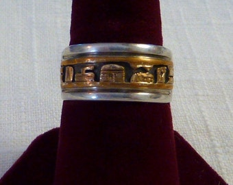 Sterling Silver Mens Ring Band  Indian South Western Pueblo Design size 9 1/4