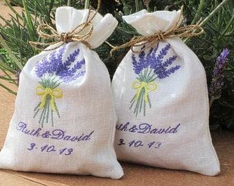 4 Wedding Favor Bags -Lavender -  Linen/Cotton Bags -  Shower Favor Bags - Embroidered Gift Bag - Bride Favor Bags
