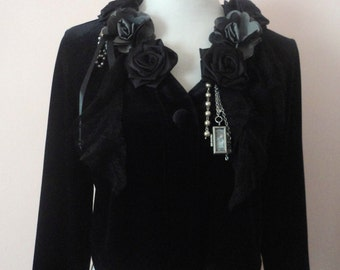 Black Velvet Cropped Jacket, Velvet Coverup, Decorated Jacket, Elegant Boho Black Jacket, Flower Embellished, Mori Girl, Black Blazer