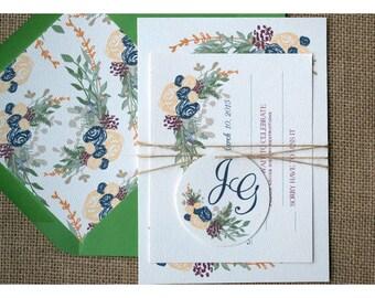 Vintage Boho Style Wedding - Boho Flowers Invitation  - Earth Tone Colors - Garden Barn Wedding Invite - Romantic Flowers Calligraphy Font