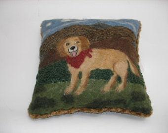 Golden Retriever Dog Pillow-  Needle Felted