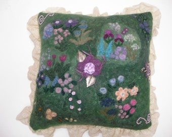 Green Pillow with Needle Felted Flowers and Lace Trim