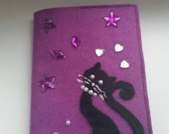 Felt Passport cover, case, holder with the design. Handmade bright fun unusual exclusive accessory. Sparkling cover with black cat