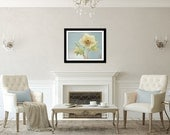 Flower Photograph, Spring Photography, Blue and Yellow Decor, Garden Picture, Hellebore Print, Botanical Wall Art