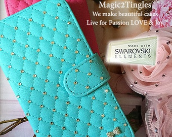 Classic Sparkle Bow Decal Design Quilted Pattern Synthetic Leather Flip Open Book Wallet Case Pouch For iPhone 6s Plus