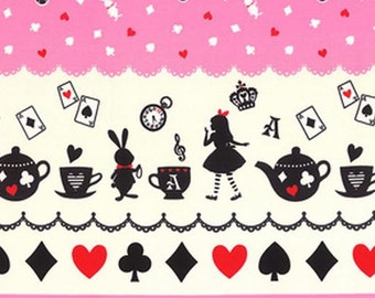 Lecien - Girl's Story - Alice in Wonderland - Pink Double Border Print