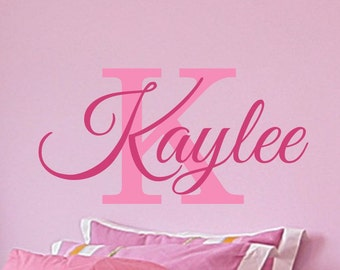 Girls Monogram Name Decal Girls Bedroom Personalized Name Decal Childrens Nursery Wall Decor Vinyl Lettering 7 sizes to choose from