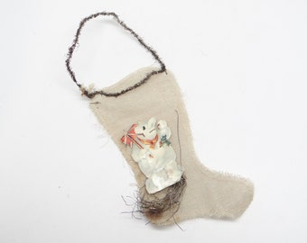 Early 1900's Victorian White Christmas Stocking with Snowman Die Cut Scrap and Tinsel Candy Container Ornament