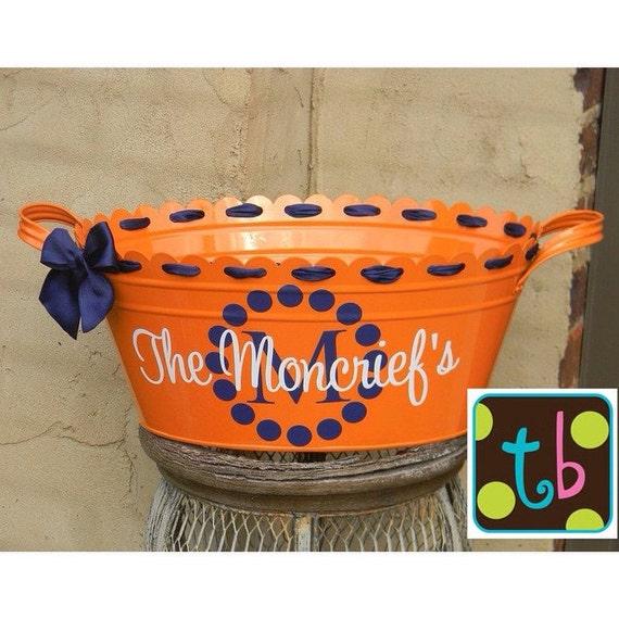 Half Price Sale! Personalized Orange Metal Enamel Oval Tub