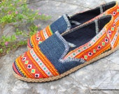 Orange Vegan Womens Loafers Hemp Espadrilles Hmong Embroidered Summer Shoes 6.5 - Morgan