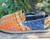 Vegan Mens Shoes in Orange Ethnic Hmong Embroidery and Indigo Batik Vegan Loafer - Morgan