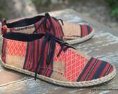 Vegan Mens Shoes Lace Up Oxfords In Tribal Naga Textiles - Matt