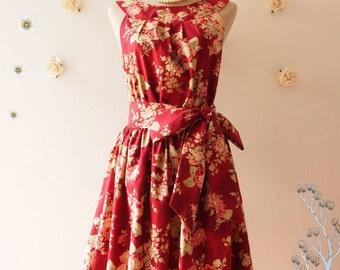 SWEET TEA PARTY : Grunge Dark Red Floral Dress Tea Dress Floral Summer Dress Prom Party Dress Red Floral Bridesmaid Dress- Size S,M, Custom