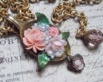 Spoon Full Of Roses, Brass, Micro Beads & Cameo Drop Charm Necklace