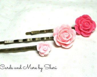 Pretty Pink Flower Bobby Pins - 3