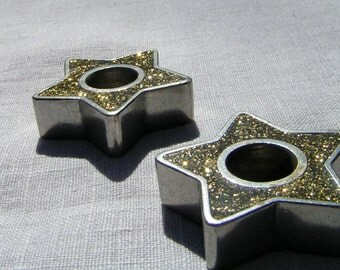 80s GOLD GLITTER Star Candlestick Holders Danforth Fine Pewter Co USA