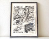 Piano Original Art - Black and White Garden Music Drawing