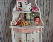 Dollhouse Miniature Vintage Shabby Chic Farmhouse Country Armoire Curio Corner Cabinet Storage Kitchen Corner Hutch