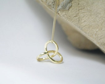 14K Gold Gordian Knot Necklace, Solid Yellow Gold Charm Pendant, Fine and Dainty Original Symbol
